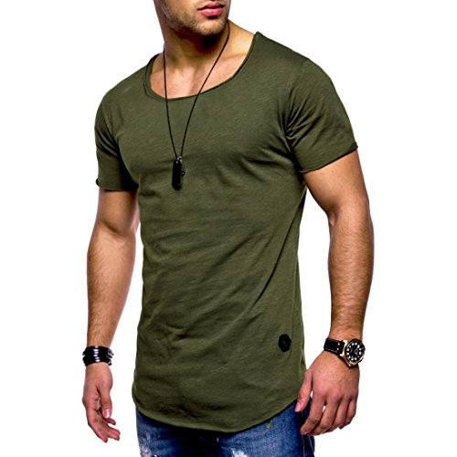 iHPH7 Mens Blouse Tee Slim Fit O Neck Short Sleeve Muscle Cotton Casual Shirts -