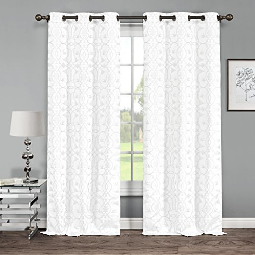Floral Botanical Linen Look Grommet Top Window Curtain Pair Panel Insulated Drapes For Bedroom, Livingroom, Kids, Children, Nursery - Assorted Colors - 38 by 84 Inch, Set of 2 Panels - White