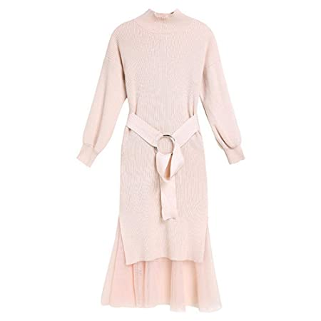 Solid Color Loose Knitted Sweater Dress Women High Neck Long Sleeve Dresses