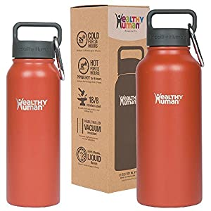 Healthy Human Insulated Stainless Steel Water Bottle Thermos - Ideal for Sports, Outdoors, Men, Women & Kids. Leak Proof. Cold 24Hours - Cinnamon - 32 oz