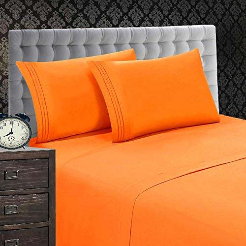 Elegant Comfort 1500 Thread Count Luxury Egyptian Quality Wrinkle and Fade Resistant 4-Piece Sheet Set, Queen, Elite Orange