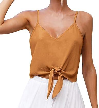 TOPKEAL Camisa sin Mangas de Diseño de Color Liso para Mujer ...