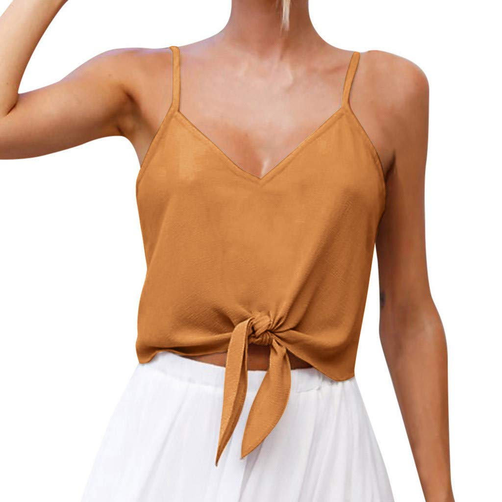 NUWFOR Women's Summer Casual Solid Sleeveless Design Shirt Tank Top Blouse(Yellow,US XL Bust:36.2-37.8'')