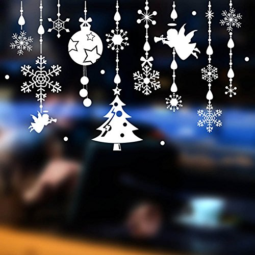 Merry Christmas Windows Stickers Removable Vinyl DIY Wall /Glass Stickers, Door Mural Decal Sticker for Showcase (B) by Yuson Girl