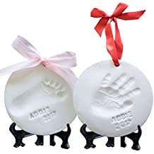 Little Hippo Premium Ornament Keepsake Kit, Baby Handprint kit And Footprint Kit -2 Ornaments In Non-Toxic Clay, And Comes With 2 Easels, 4 Ribbons Plus Bonus Personalization Kit. Baby Shower Gift