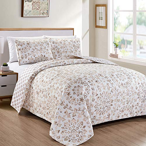 Great Bay Home Sienna Collection 3 Piece Quilt Set with Shams. Reversible Classic Bedspread Coverlet. Machine Washable. (King, Taupe)