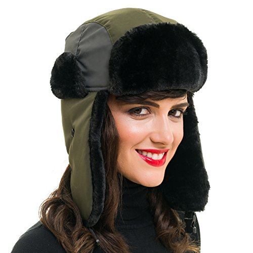 MELIFLUOS DESIGNED IN SPAIN Trapper Bomber Hat for Men and Women Russian Warm Fur for Ski Winter Hunting (Army Green)