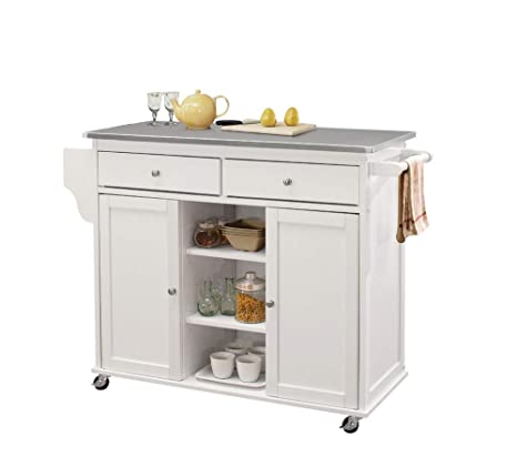 ACME Furniture Isl Tullarick Kitchen Island, Stainless Steel/White