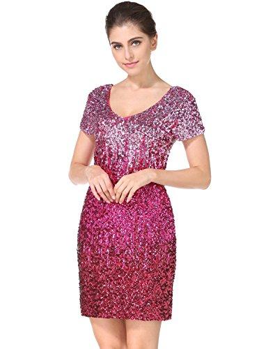 MANER Women's Sequin Glitter Short Sleeve Dress Sexy V Neck Mini Party Club Bodycon Gowns(XXL, (Clubwear Gown)