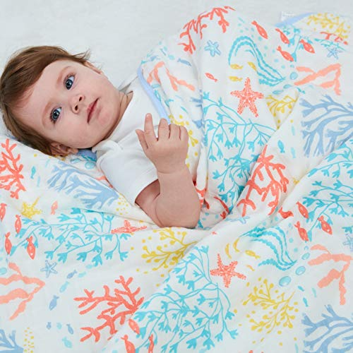 3-Layer 100% Cotton Muslin Baby/Toddler Blanket/Everything Blanket/All Purpose Blanket - Unisex Coral Print - Large 46
