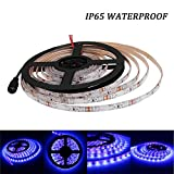 UV/Ultraviolet Black Lights LED Strip 300 LEDs 16.4Ft/5M 3528 Flexible Waterproof Backlights Purple Light Night Fishing Sterilization Implicitly Party with DC12V Power Supply(Not included)