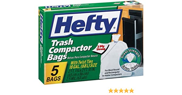 Hefty E21218 Trash Compactor Bags 5 Count