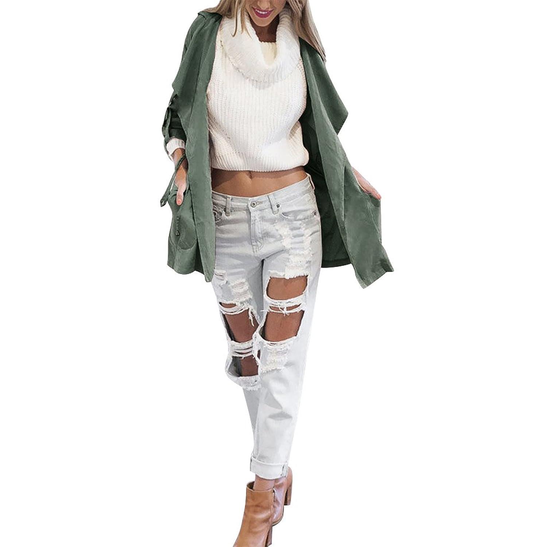 Aitos Femme Manteau à capuche Manche Longue Veste Mode Casual Tranch Coupe-vent Parka Outwear