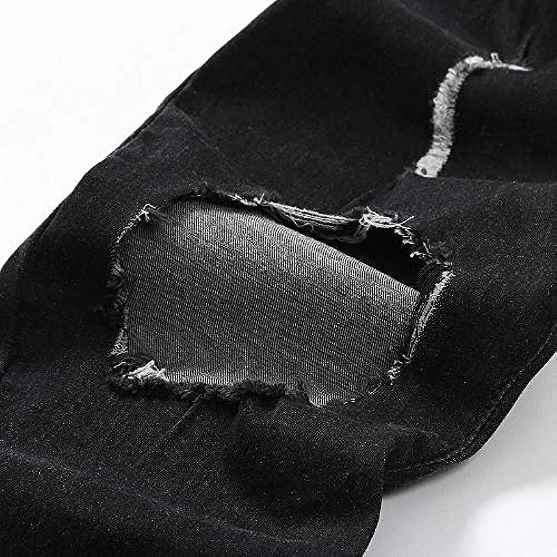 HEFYBA męskie dżinsy z dziurkami i stretchem, z kieszenią na zamek błyskawiczny, cienkie spodnie, rajstopy, do noszenia na co dzień, spodnie denim (czarne, S): Odzież