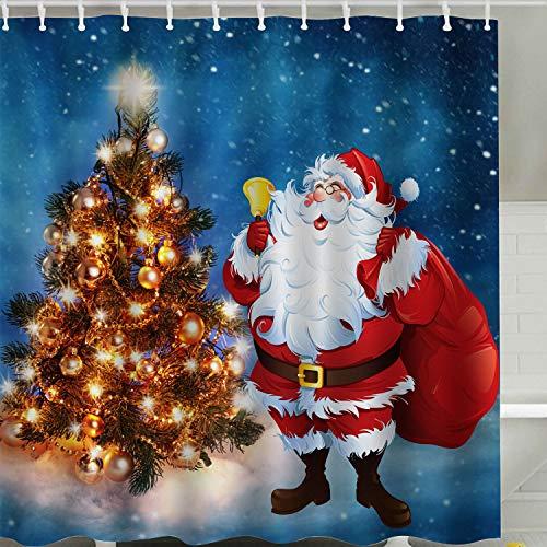 - BROSHAN Christmas Shower Curtain Set,Xmas Santa Holiday Bathroom Decoration Bright Christmas Tree Blue Starry Sky Art Print,Polyester Waterproof Fabric Bathroom Accessories with Hooks,72x72 Inches