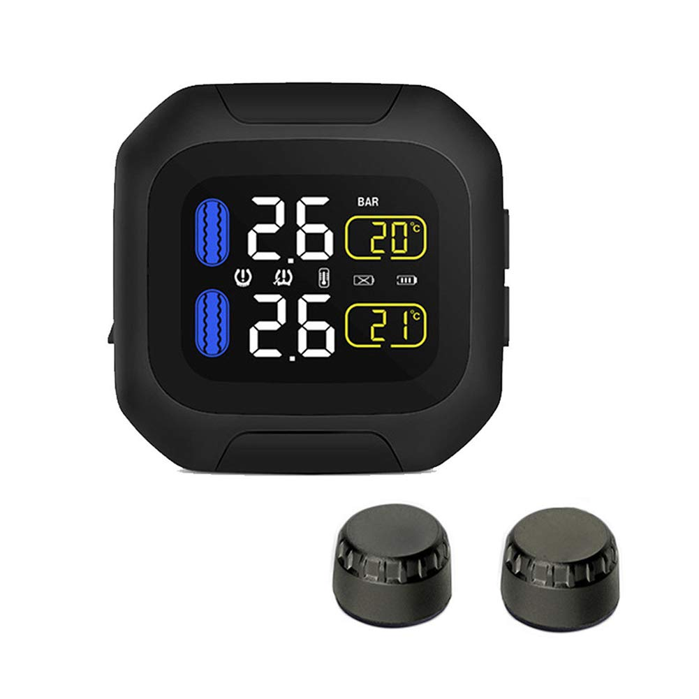 QM190409 TPMS Motorcycle Tire Pressure Monitor System Waterproof LCD Display Wireless Digital +2 External Sensors