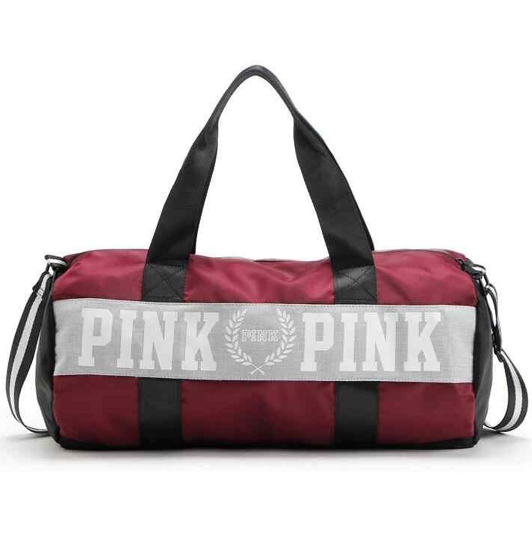 AREO Polyester Burgundy Pink Letter Large Capacity Sports Travel Duffle Striped Bag for Men and Women - Travel Kit