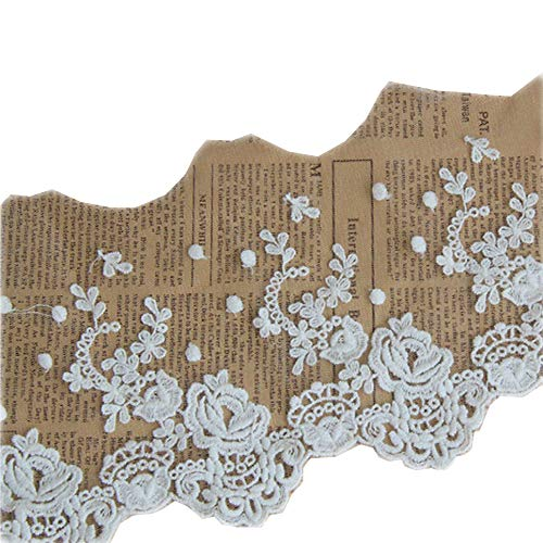 (Beautiful By Design Ivory 3 Yards Grace Floral Embroidered Lace Trim Ribbon Dress Edge Craft Lace Home Curtains Accessory 5 1/2 Inches Wide)