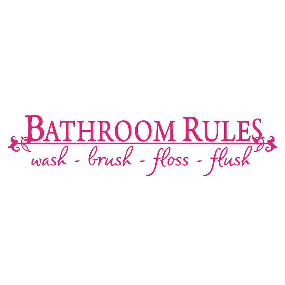huoaoqiyegu Bathroom Rules Wash Brush Floss Flush Quote Saying Wall Sticker for Bathroom