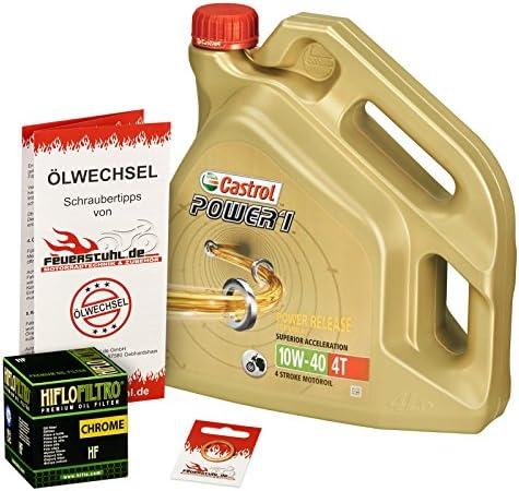 Castrol 10W-40 Öl + HiFlo Ölfilter für Yamaha VMX-12 Vmax, 96-02, 2EN 2LT VP03 - Ölwechselset inkl. Motoröl, Chrom Filter, Dichtring