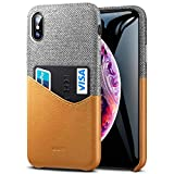 ESR Metro Wallet Case for iPhone Xs Max, Soft Fabric + Premium PU Leather Case with ID&Card Holder Slot for iPhone 6.5 inch(2018 Release)(Gray/Brown)