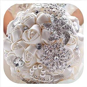 meiguiyuan Wedding Bouquet Satin Bridal Bouquet Hand Made Wedding Flower Rhinestone Bridesmaid Bouquet Crystal 2019 9
