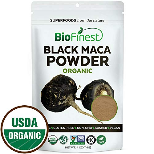 Biofinest Black Maca Root Powder - 100% Pure Freeze-Dried Antioxidant Superfood - USDA Organic Vegan Raw Non-GMO - Boost Vitality & Endurance - for Smoothie Beverage Blend (4 oz Resealable Bag)