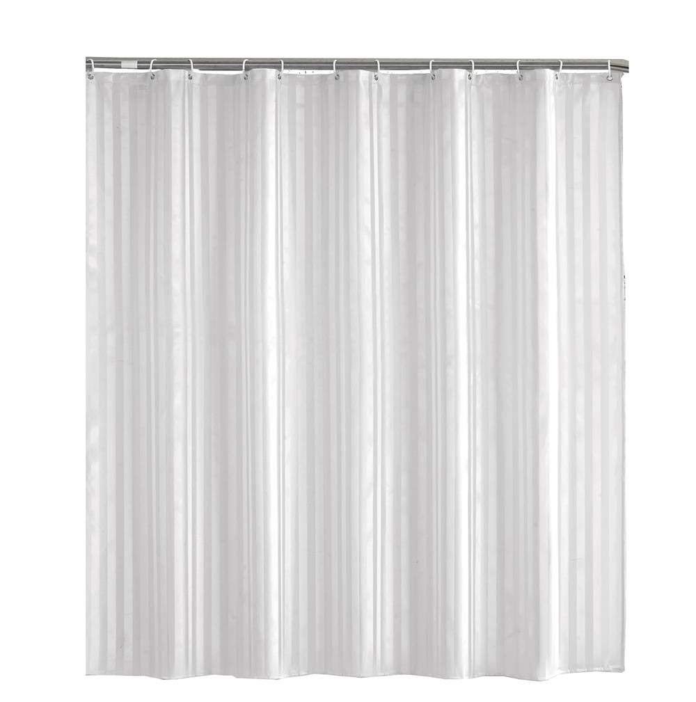 """Dafield DAFILED FABRC SHOWER CURTAIN LINER Upscale Hotel Style Quality, Washable,No Chemical Smell, Mildew Resistant,Weight Hem,Water-Repellent, Elegant Subtle White Damask Stripe (71""""X71"""")"""