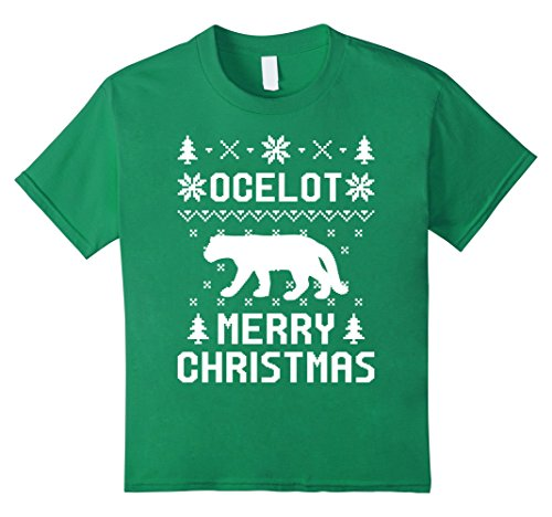 Kids Ocelot christmas T-shirt, Ugly Christmas Sweater T-shirt 12 Kelly Green