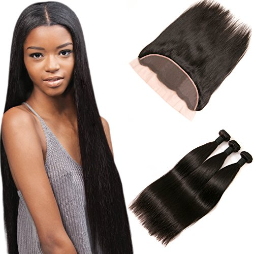 Brazilian Hair Ear to Ear Lace Frontal Closure Straight Hair Piece 3 Bundles 13×4 Lace Frontal with Baby Hair Deals 22 24 26 + 20 Frontal