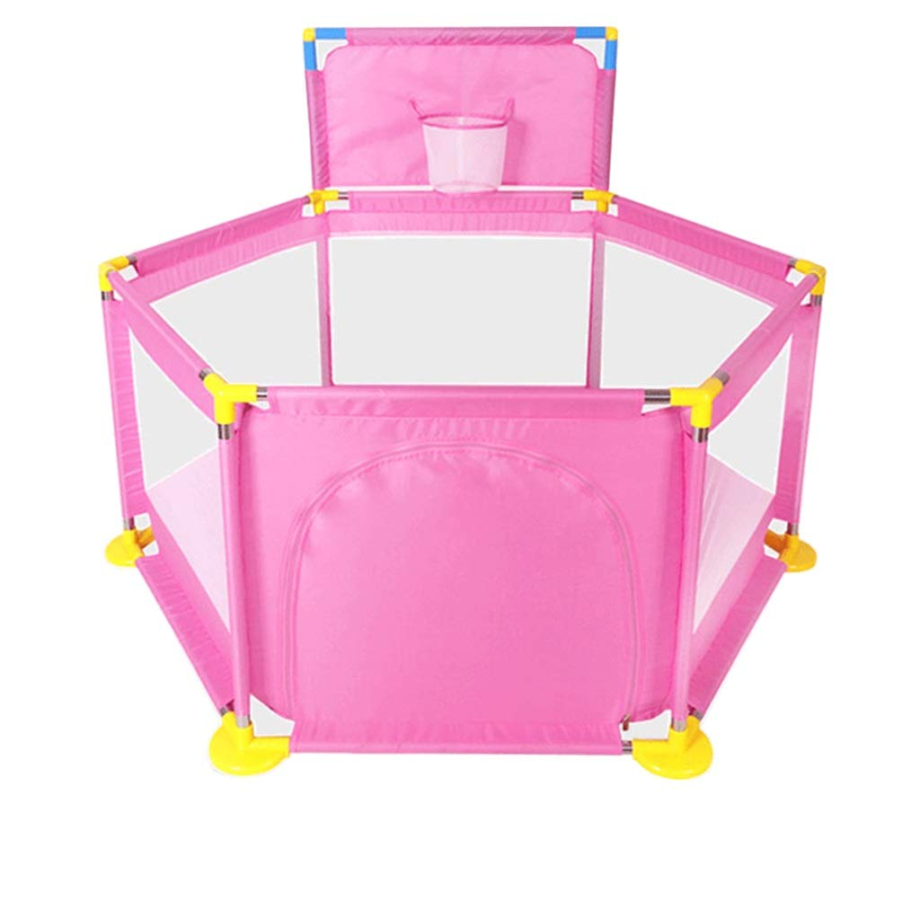 Pink YINER Baby Playpen,Toddler Newborn Infant Portable Playpen Activity Center Guard Washable with Basket Ball Hoop (color   bluee)