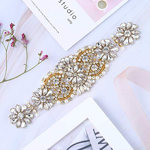 XINFANGXIU Gold Rhinestone Bridal Wedding Garters Headpieces Applique Patch with Crystals Beaded Jeweled Sequin Diamond Embellishments for Bridesmaid Gown Dress Sash Belt