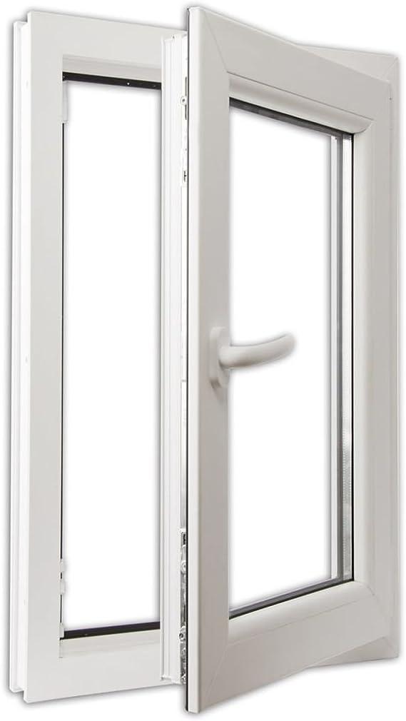 vidaXL Ventana Triple Acristalamiento Manilla Derecha PVC Blanco 600x1000 mm