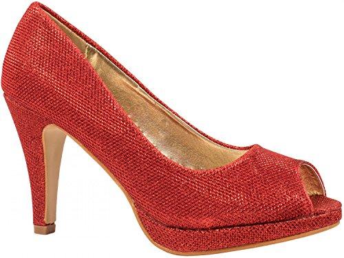 con Elara tacón Zapatos Rojo Mujer gqzFx7zw