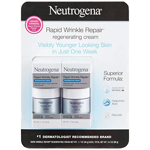 Neutrogena Rapid Wrinkle Repair Retinol Regenerating Face Cream & Hyaluronic Acid Anti Wrinkle Face Moisturizer, Neck Cream, with Hyaluronic Acid & Retinol, 1.7 oz (Pack of 2)