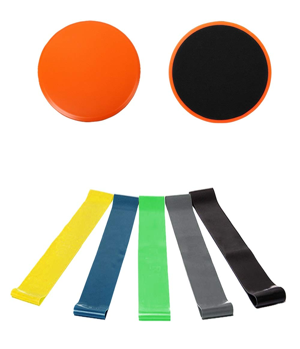 Bands and Sliders Fitness, 2 Pack Gliders and 5 Pack Resistance Bands, Home Workout Equipment for Abs, Core Sliders Exercise Discs Loop Bands for 80 Day Obsession