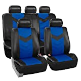 FH GROUP FH-PU021115 Synthetic Leather Full Set Auto Seat Covers, Blue Black Color - Fit Most Car, Truck, Suv, or Van