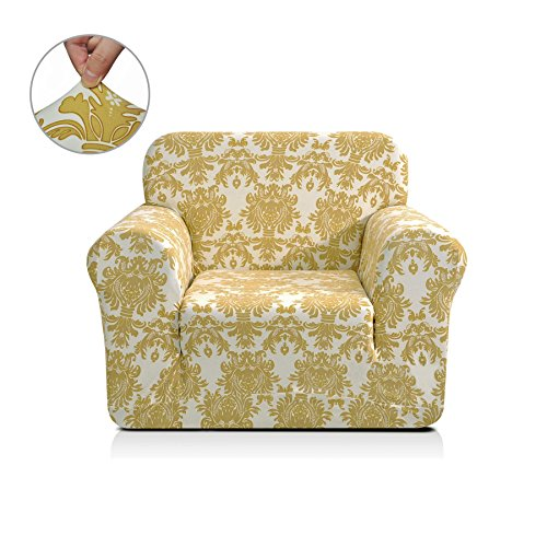 Chunyi Printed Sofa Covers 1-Piece Spandex Fabric Slipcover (Chair, Yellow Flower)