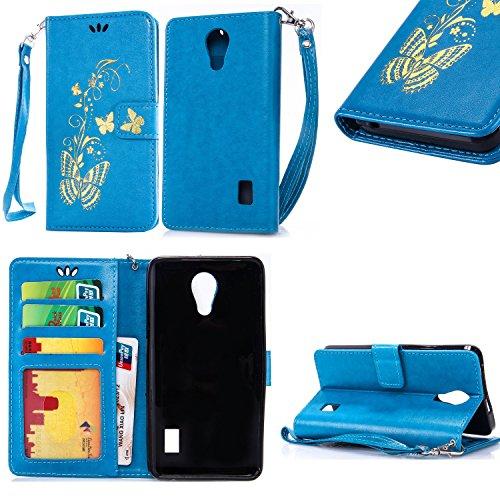 SRY-Conjuntos de teléfonos móviles de Huawei Funda de la caja Huawei Y635 con ranura para tarjeta de crédito en efectivo, caja de la cartera de la caja de cuero premium en relieve Caja de la mariposa  Blue