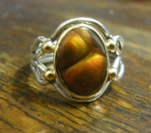 (FIRE AGATE RING, Sterling Silver & 14k Gold, Sz 8.5 Handmade, ooak)