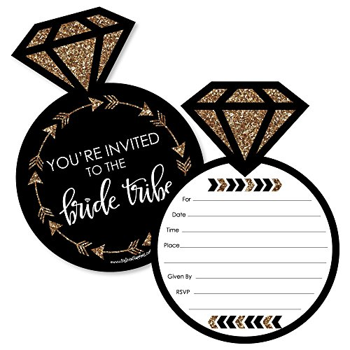 - Bride Tribe - Shaped Fill-In Invitations - Bridal Shower or Bachelorette Party Invitation Cards with Envelopes - Set of 12