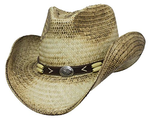 Distressed Palm Pinch Front Western Cowboy Hat Pinch Front Straw