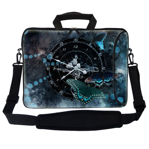 Meffort Inc 17 17.3 inch Neoprene Laptop Bag Sleeve with Extra Side Pocket, Soft Carrying Handle and Removable Shoulder Strap for 16″ to 17.3″ Size Notebook Computer – Butterfly Clock Design, Bags Central