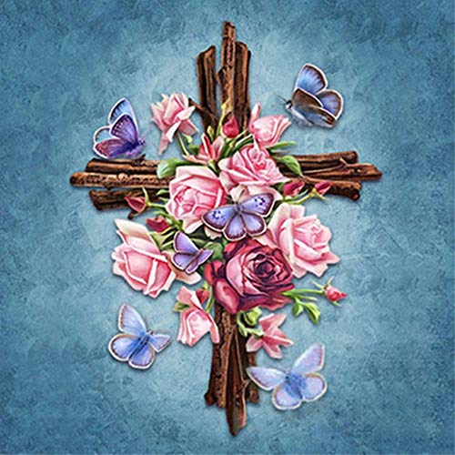 (Flower Butterfly Cross Diamond Painting - PigBoss 5D Full Diamond Embroidery Religion Cross Diamond Dots Kits Home Decor Art Gift (11.8 x 15.7)
