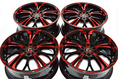 17″ Wheels Rims ddr r25 Black with Polished Red Face Finish 17×7 5×108 5×110 40mm Offset 5 Lugs Bolt Pattern 5×108/110 (Set of 4)