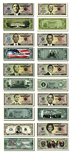Barack Obama 44th President Collectors 10 Bill Collector Set: One Million Dollar Bill, 2008 Obama Note, 2009 Inaugural Note, 2010 Obama Note, 2011 Obama Note, 2012 Obama Note, 2013 Obama Note, 2014 Obama Note, 2015 Obama Note and Michelle Obama Note
