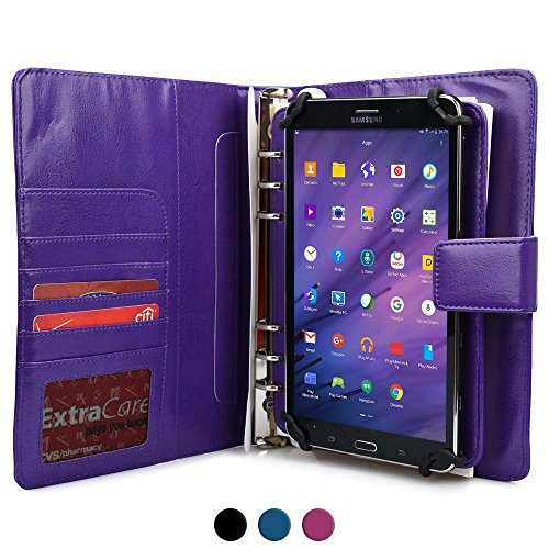 Samsung Galaxy Tab A 8.0 Case with Notepad, COOPER FOLDERTAB Padfolio Binder Premium Business Left / Right Handed Cover Portfolio Case Planner, Notebook Refill, Pockets (Purple)