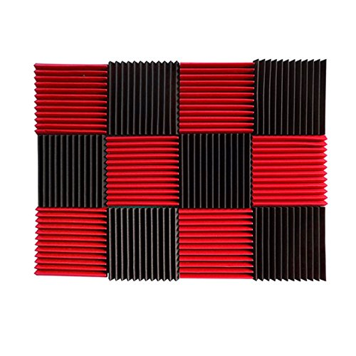 (12 Pk) 1'x12'x12' RED/CHARCOAL Acoustic Panels Soundproofing Foam Acoustic Tiles Studio Foam Sound Wedges (12T)