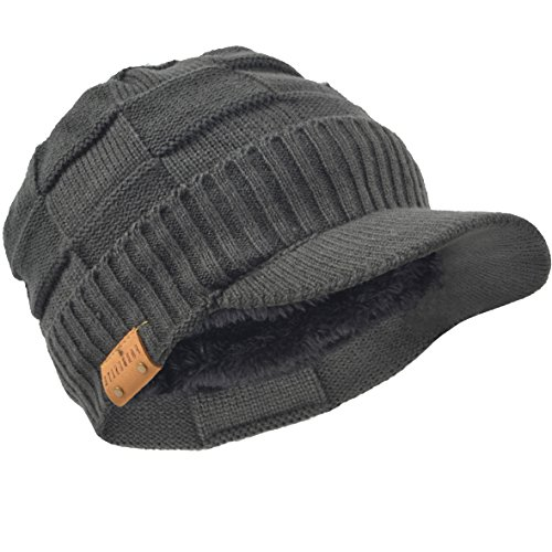 Retro newsboy Knitted Hat With Visor Bill Winter Warm Hat For Men (Check-Grey)
