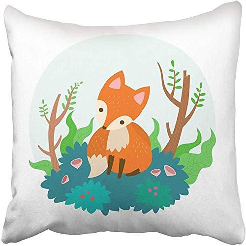 Throw Pillow Cover Decorative Polyester 18x18 Inches Animal Cute Fox Cartoon Cushion Pillow Case Square Two Sides Print for Home by Starogs
